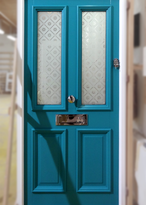 Cyan Door with Letterbox